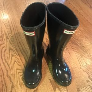 Hunter Boots - Girls 4/Boys 3 - Tall Glossy Black